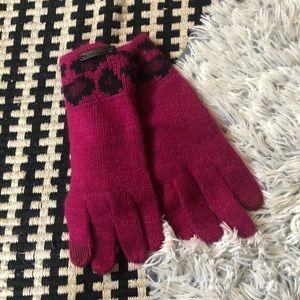 Nwot coach pink ocelot leopard print gloves
